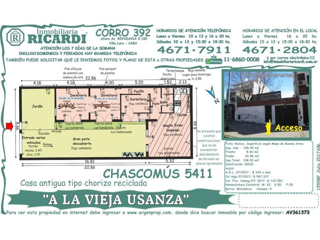 """A LA VIEJA USANZA"" - Casa antigua tipo chorizo reciclada conserva distribución"