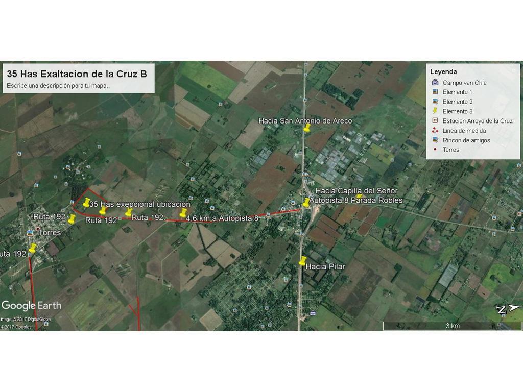 35 Has sobre ruta 192  a 4 km de autopista 8 P  Robles y a 1 kilómetro de Torres Partido de Luján.