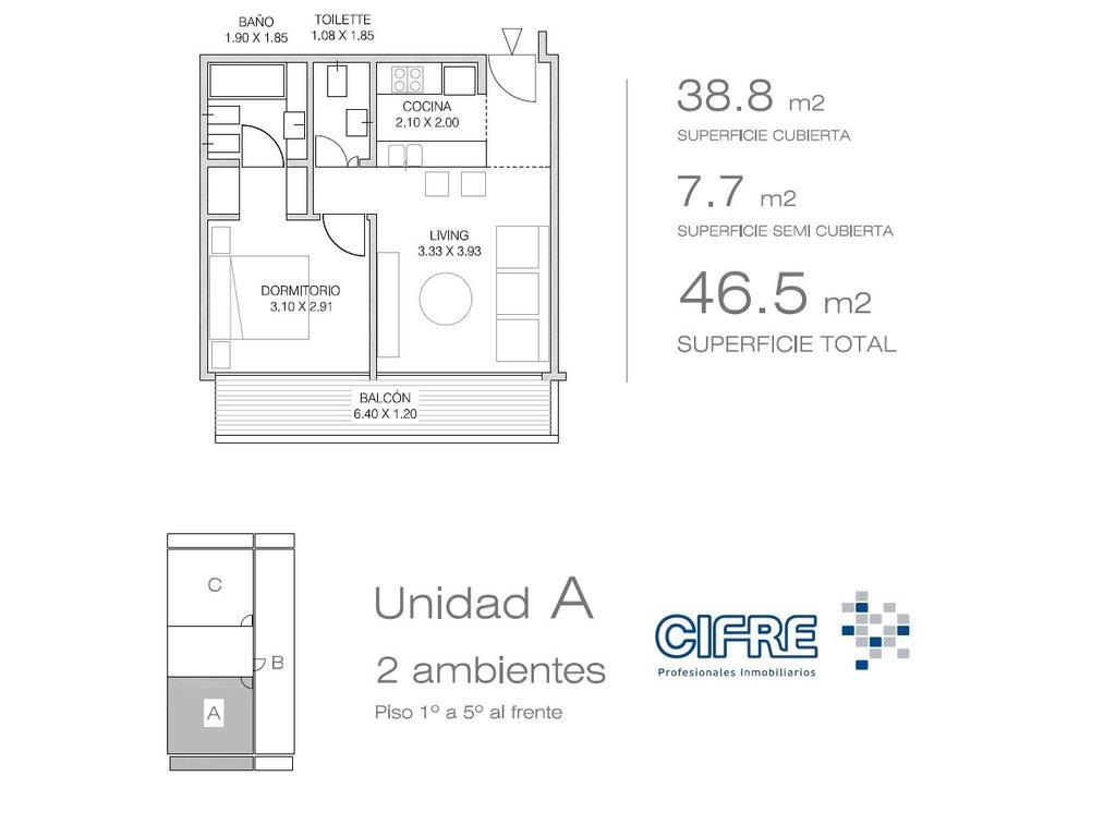 Departamento 2 ambientes con dormitorio en suite y vestidor ( Suc.Urquiza 4521-3333 )