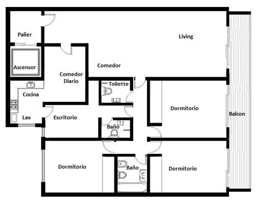 4 Ambientes amplios, balcón al frente muy luminoso.Baño y 2 toilettes. Cochera cubierta y baulera