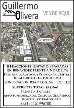 BENAVIDEZ FRENTE A NORDELTA  8 FRACCIONES 15.137 M2