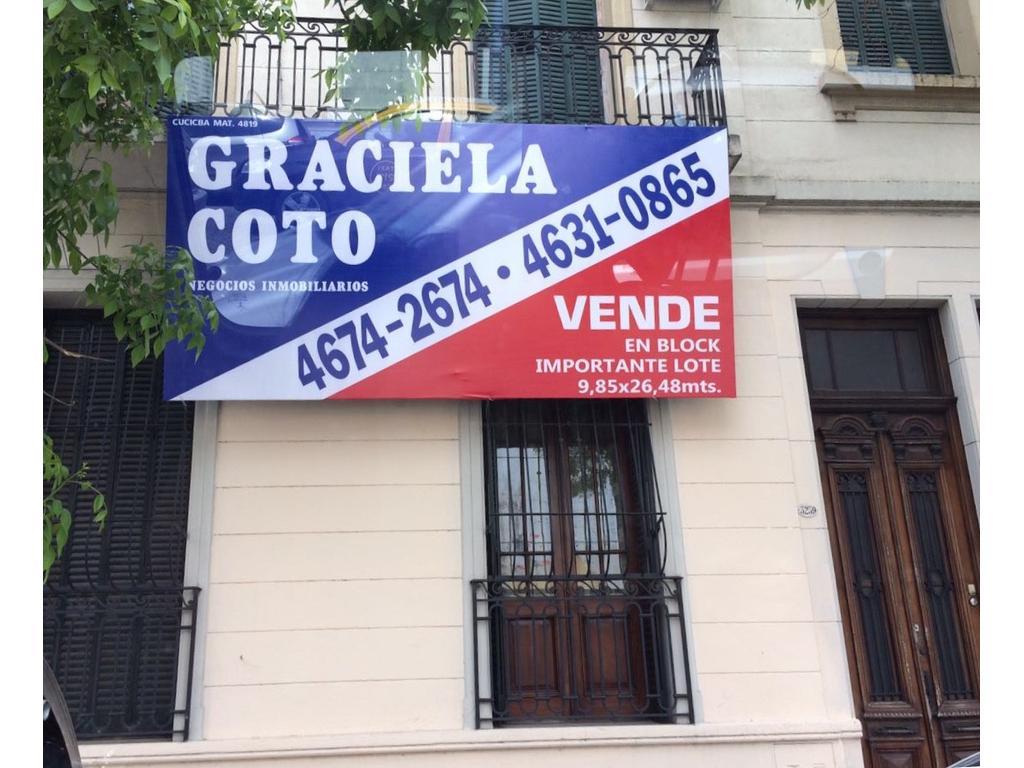 IMPORTANTE PROPIEDAD EN BLOCK SOBRE LOTE PROPIO. - FRENTE 8,95 X 26,48 DE FONDO.