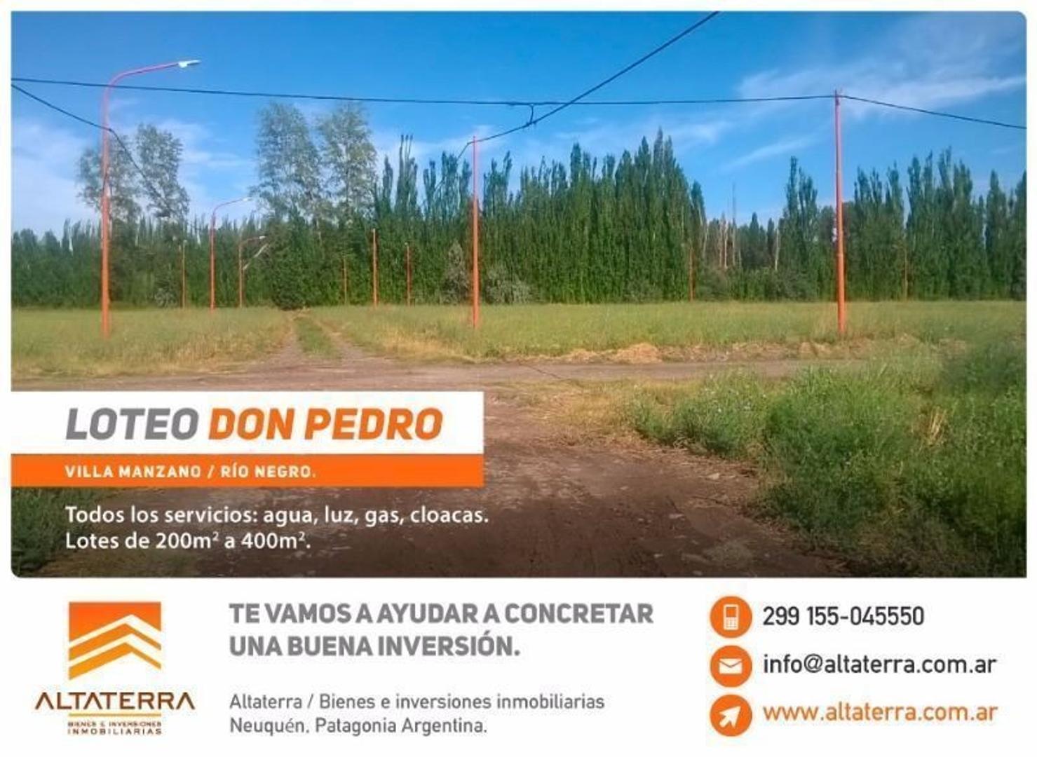 Terreno en Villa Manzano Loteo Don Pedro  Oportunidad de Inversión!