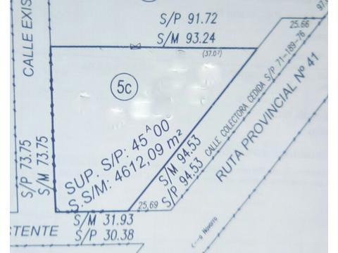 Hermoso lote de 4.612 m2, sobre Ruta Provincial 41, lindera al Almacén de Campo Dipieri.