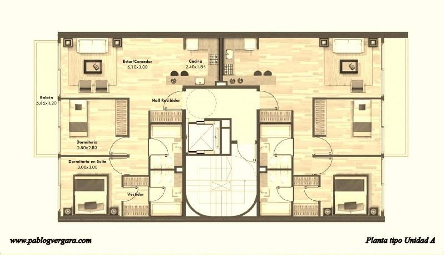 BORGES 2100 piso 7 A, Palermo Soho. 3 ambientes. Financiación