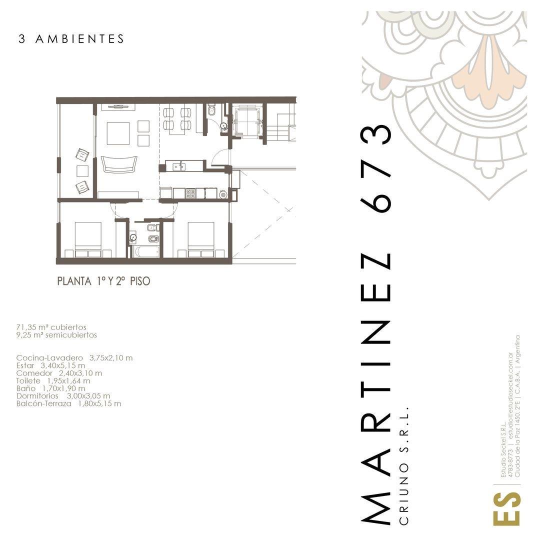 Departamento - 71 m² | 2 dormitorios | Frente