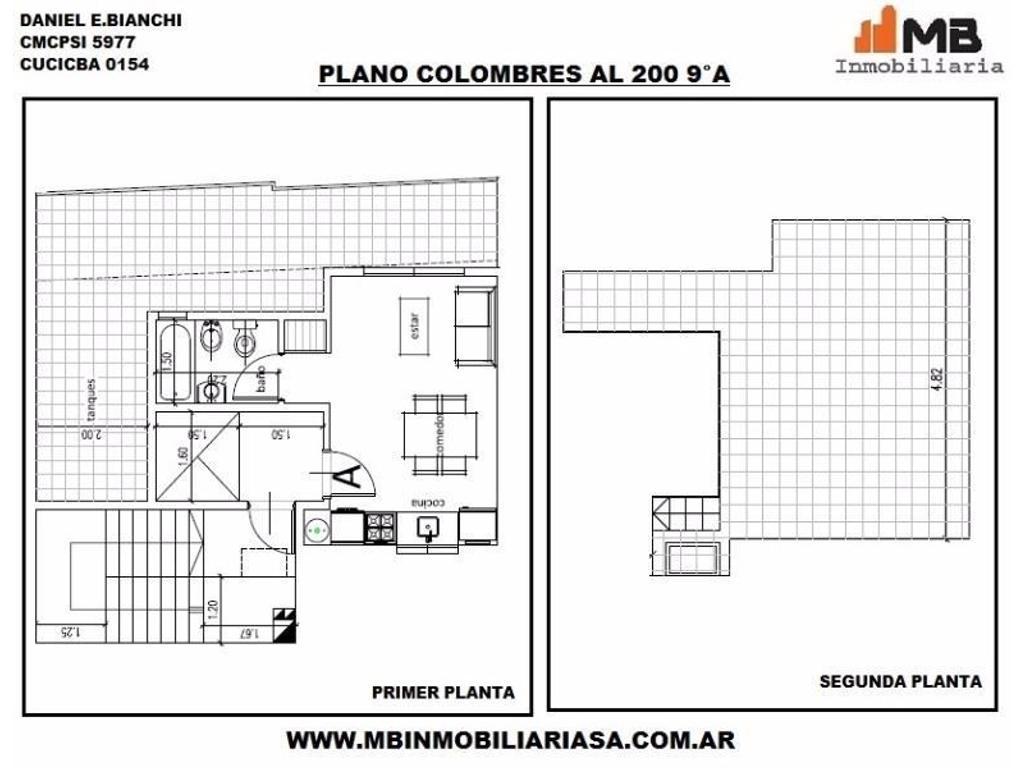 Almagro venta en pozo monoamb. c/balcón y terraza en Colombres al 200 9°A