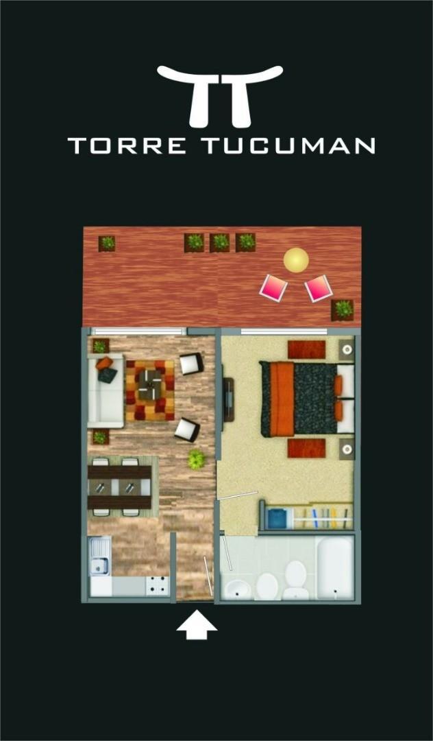Departamento en Pilar con 1 habitacion