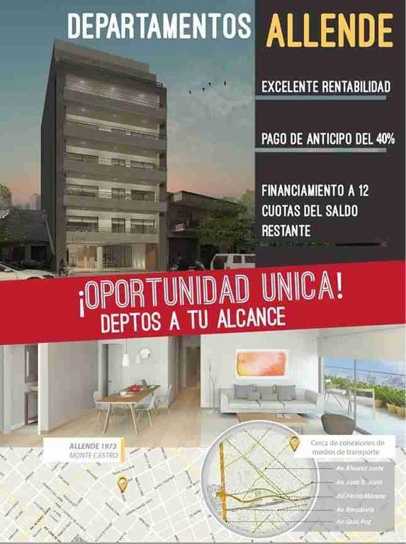 DEPARTAMENTO A ESTRENAR 3 AMB. AL FRENTE CON BALCÓN. BAÑO Y TOILLETE- SUM CON PARRILLA