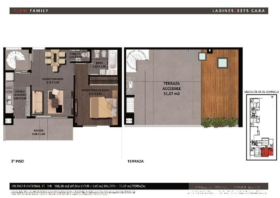 2 ambientes en DUPLEX a estrenar  con bño toil y bcon y terraza c parrilla  (Suc. Mosconi 4574-4444)