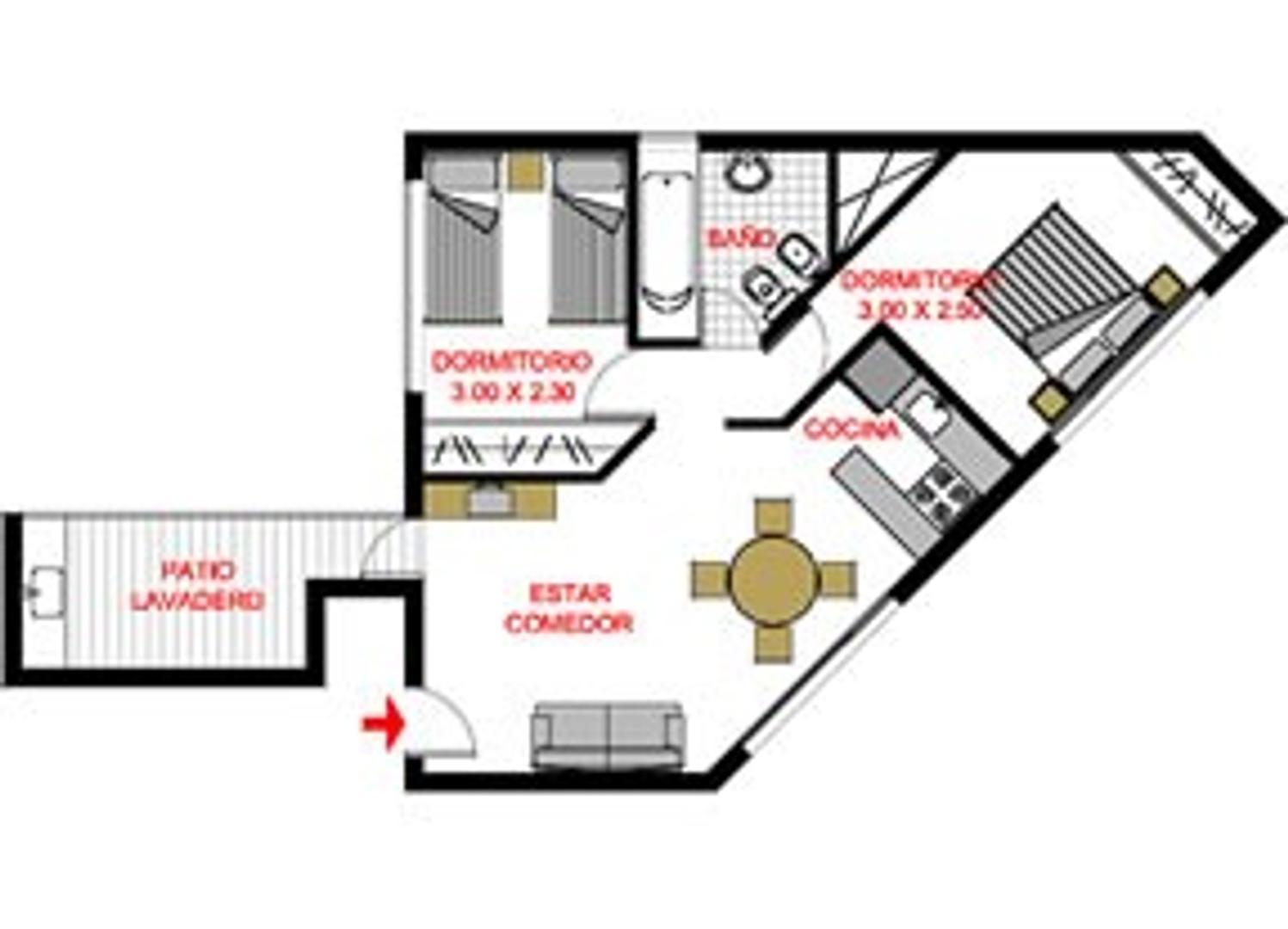 Depto 3 amb esquina 9 de Julio, baño completo, 2 dormitorios con patio propio. Apto Profesional