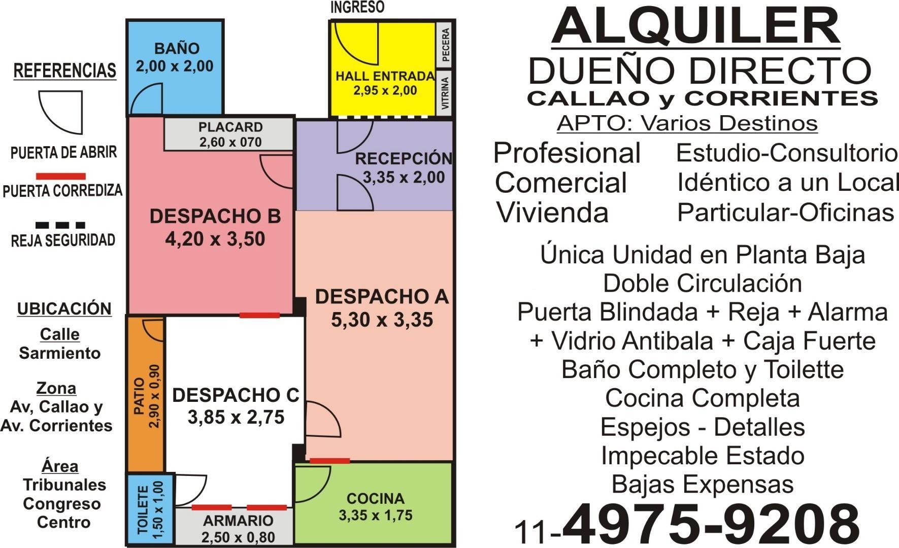 Congreso-Tribunales-Once ALQUILER DUEÑO DIRECTO  Oficina-Consultorio-Estudio-Vivienda Dueño Directo