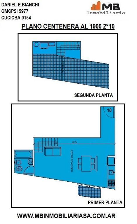 Parque Chacabuco venta  monoamb.en construcción c/terraza en Del Barco Centenera al 1900 2°10