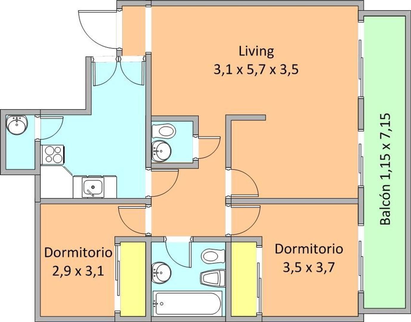 Dpto 3 amb frente balcón con cochera VENTA- AV DONATO ALVAREZ 2254