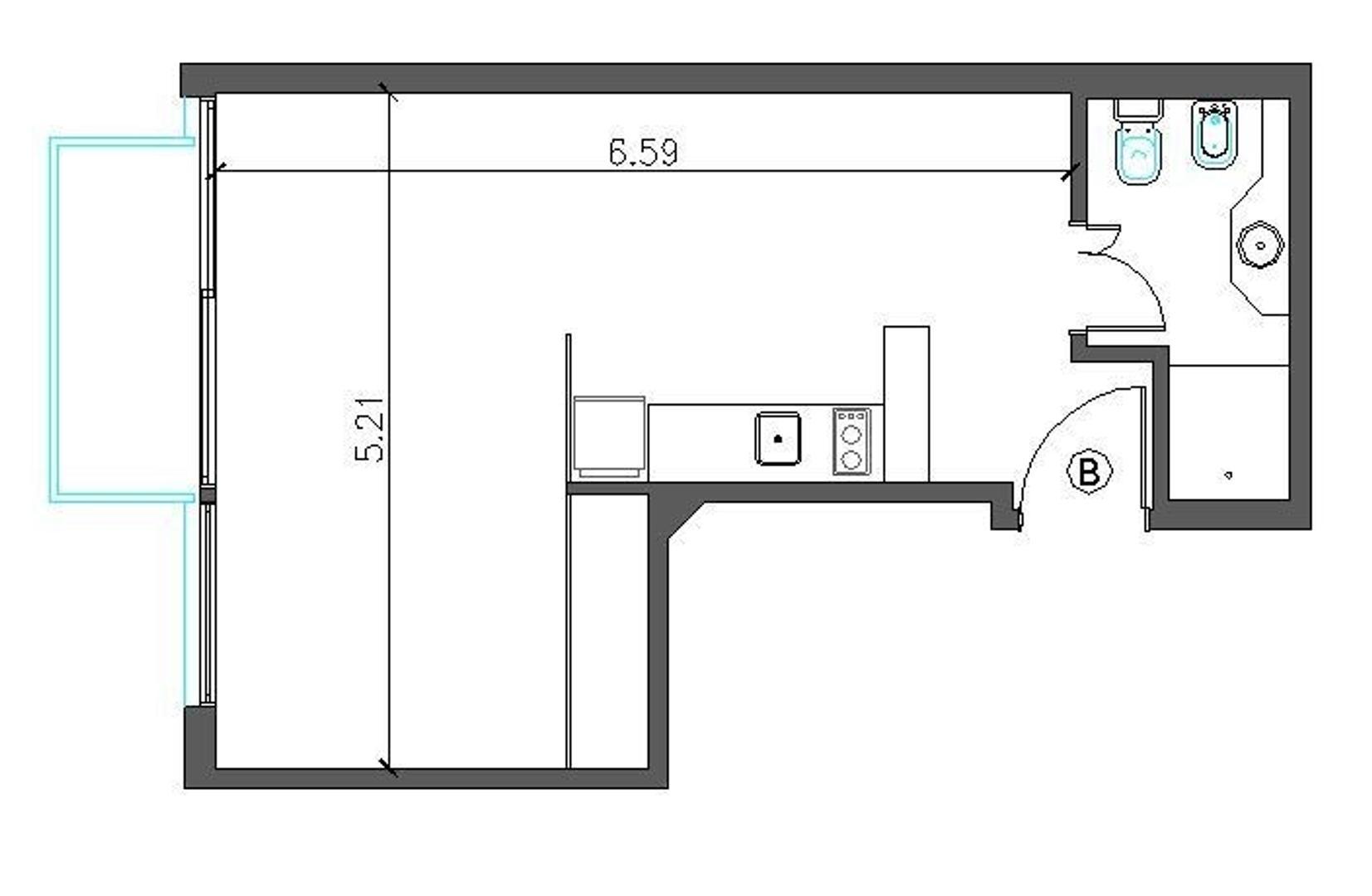A ESTRENAR 1 ambiente divisible al frente con balcón y cochera.