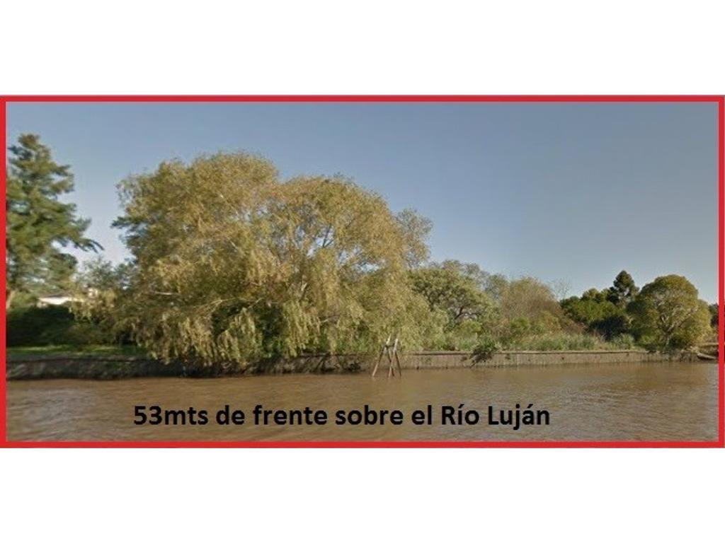 Unico lote de 5300m2  sobre Rio Luján con acceso por tierra.