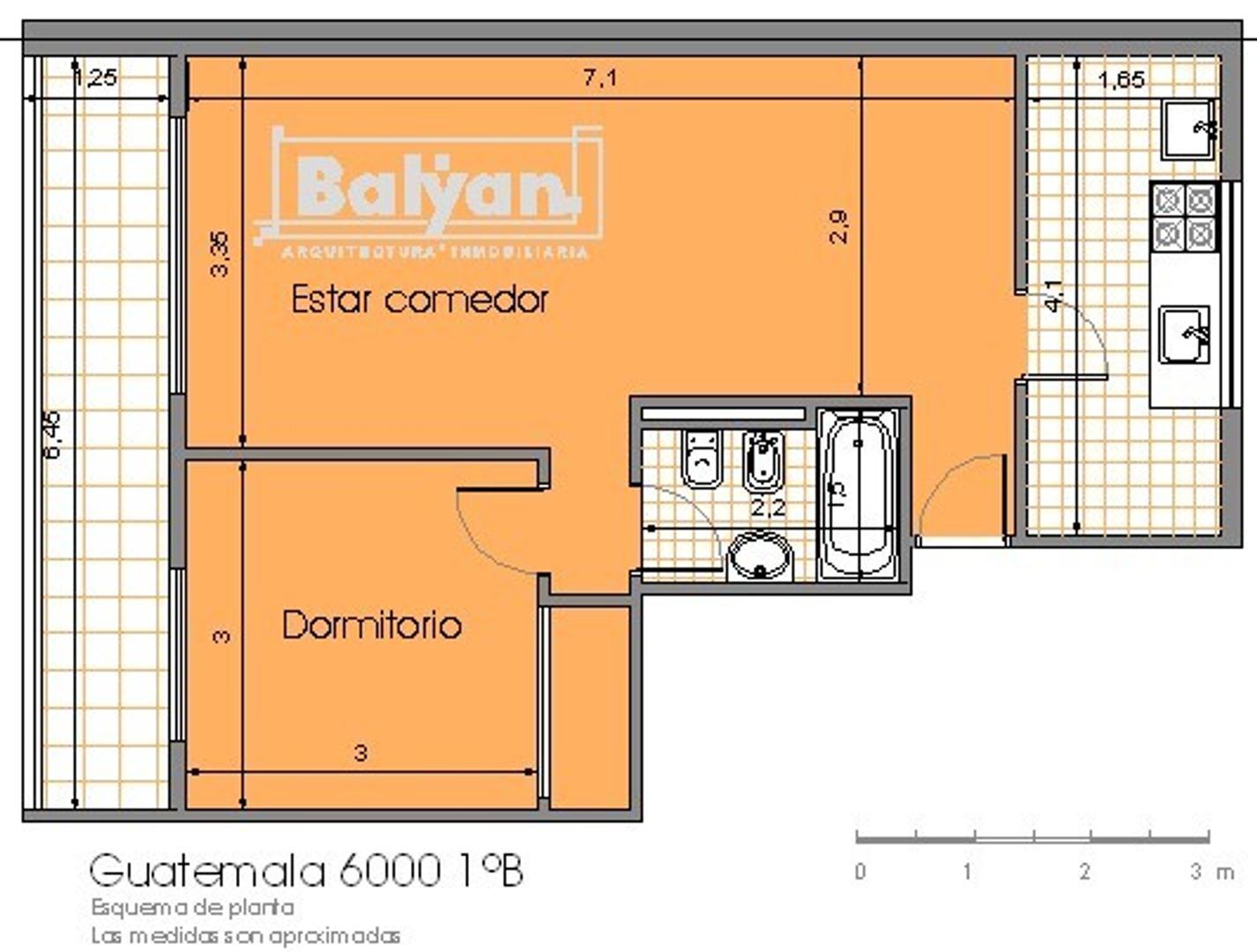Departamento en Palermo Hollywood con 1 habitacion