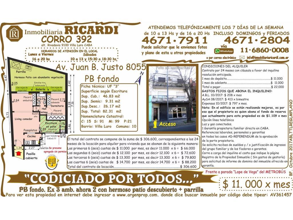 """""""CODICIADO POR TODOS..."""" PB fondo. Ex 3 amb. ahora 2 con PRECIOSO  patio tipo FONDITO  + parrilla"""
