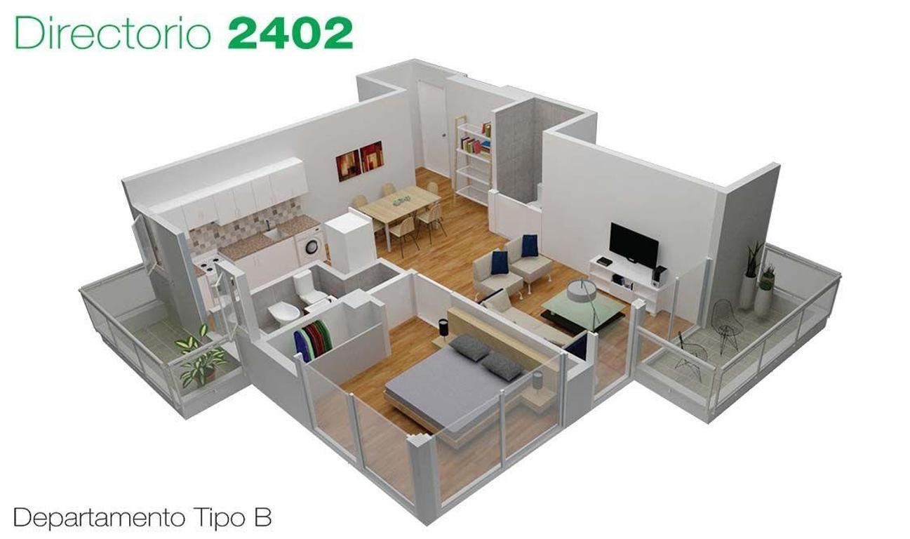 Depto en Venta . 2 ambientes c/2 balcon . Desarrollo en Flores / Pza Misericordia . Directorio 2402