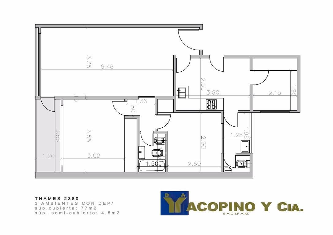 Departamento 3 ambientes c/ dependencia, y balcón al frente