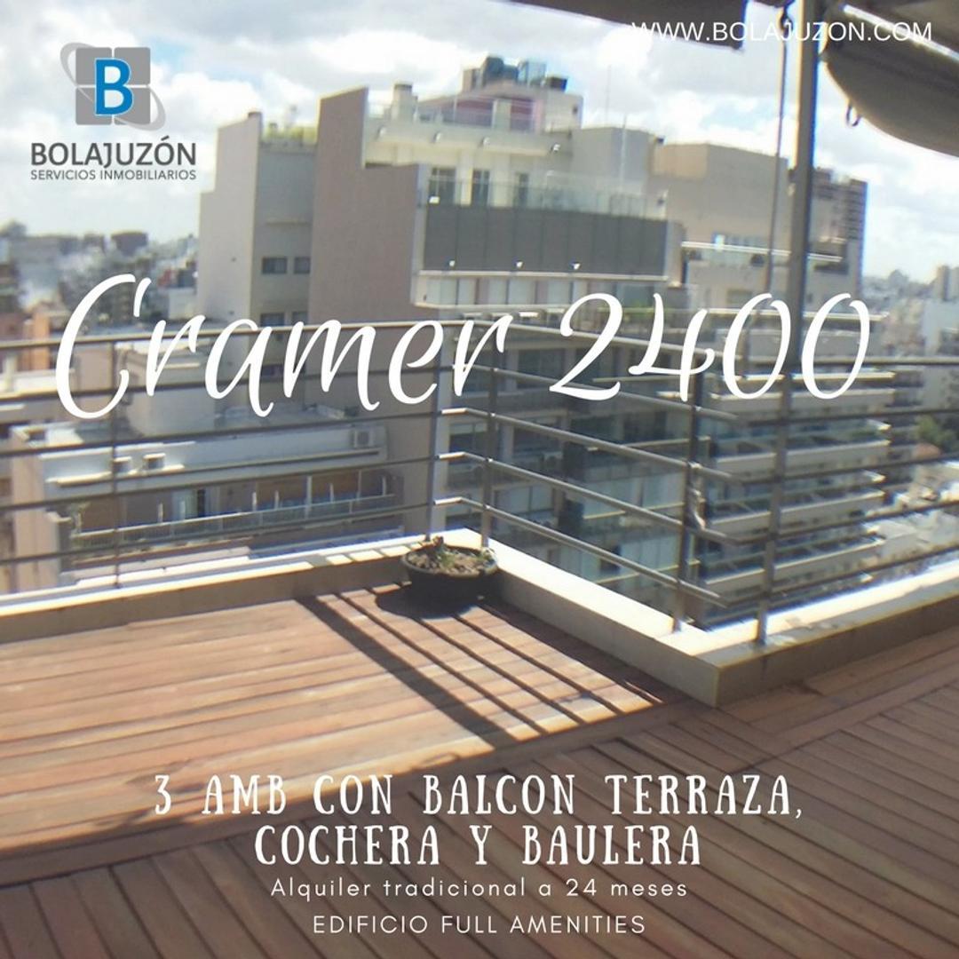 3 amb con cochera, baulera y balcón terraza. Edificio fulla amenities