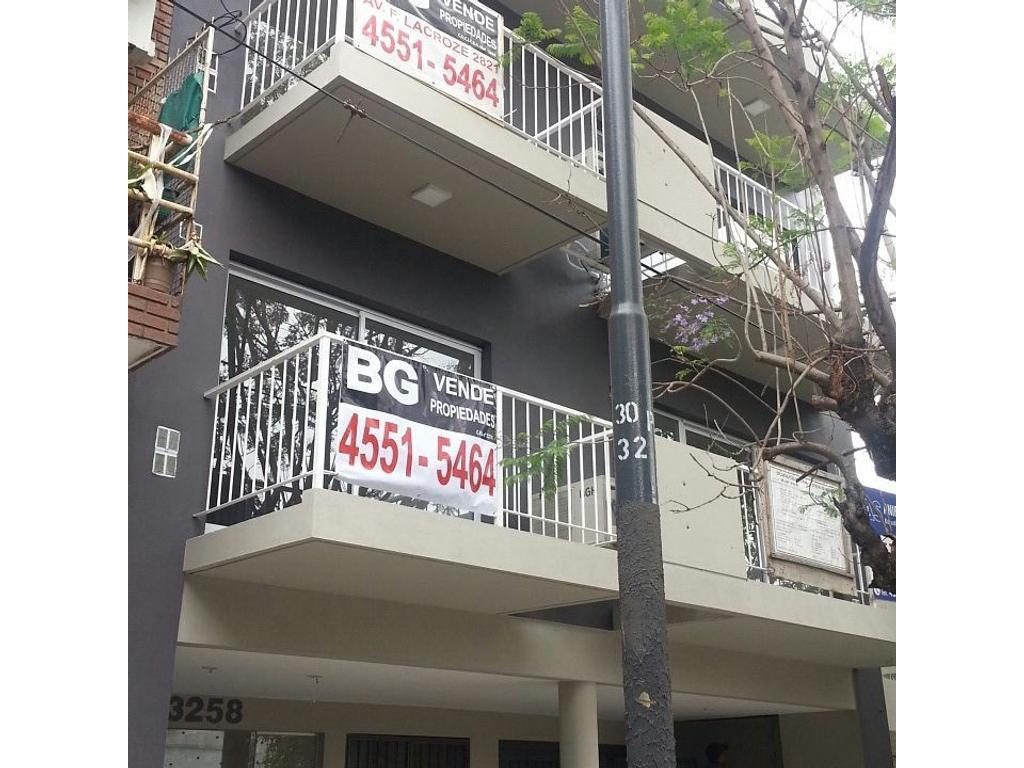 monoambiente a estrenar contrafrente con balcon, gas, aire acond. hermosa zona, no apto credito