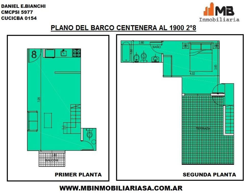 VENDIDO!! Parque Chacabuco venta PH 2 amb.c/terraza en Del Barco Centenera al 1900 2°8