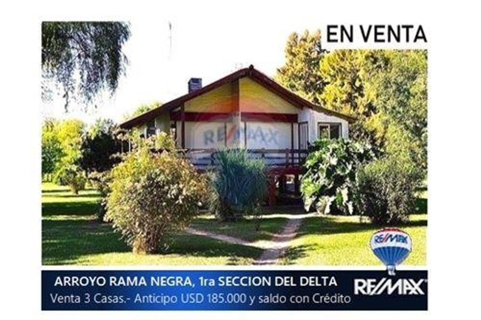 VENTA 3 CASAS + RENTA FIJA + ANTENA, en DELTA ISLA