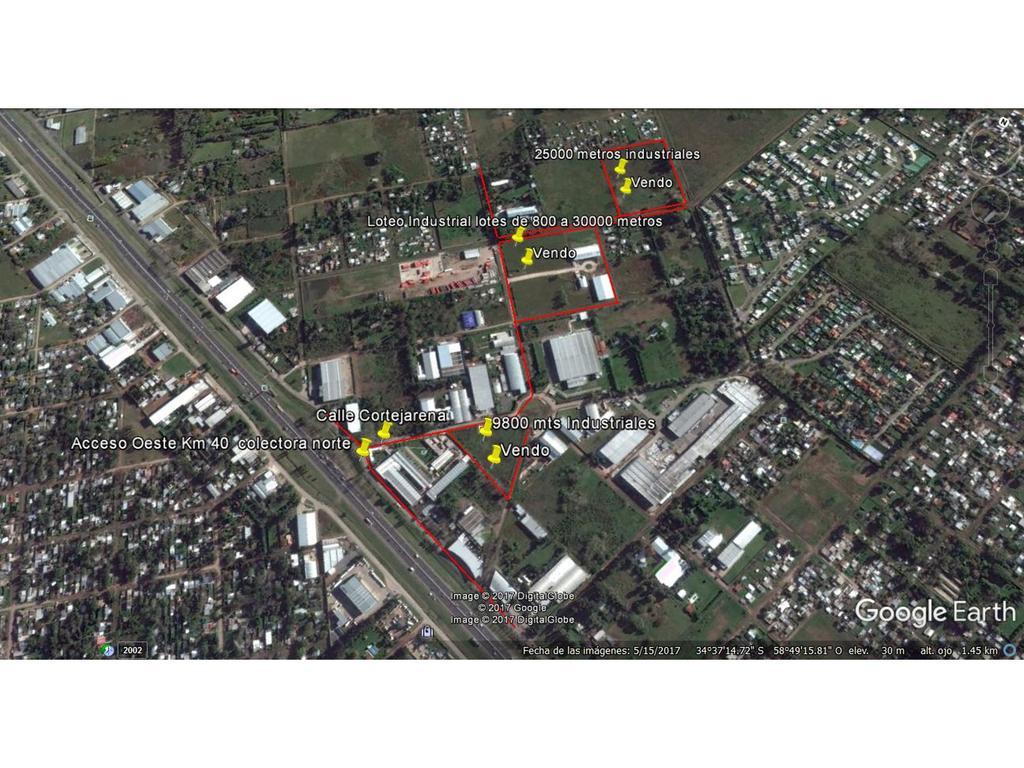 25000 metros industrial a 800 metros de colectora  norte acceso oeste km 40.