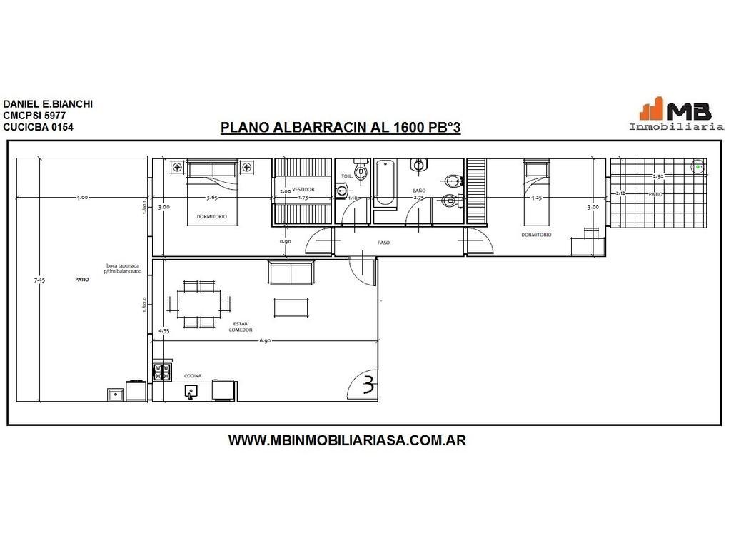Parque Chacabuco PH 3 amb.c/patio en Albarracin al 1600 PB°3