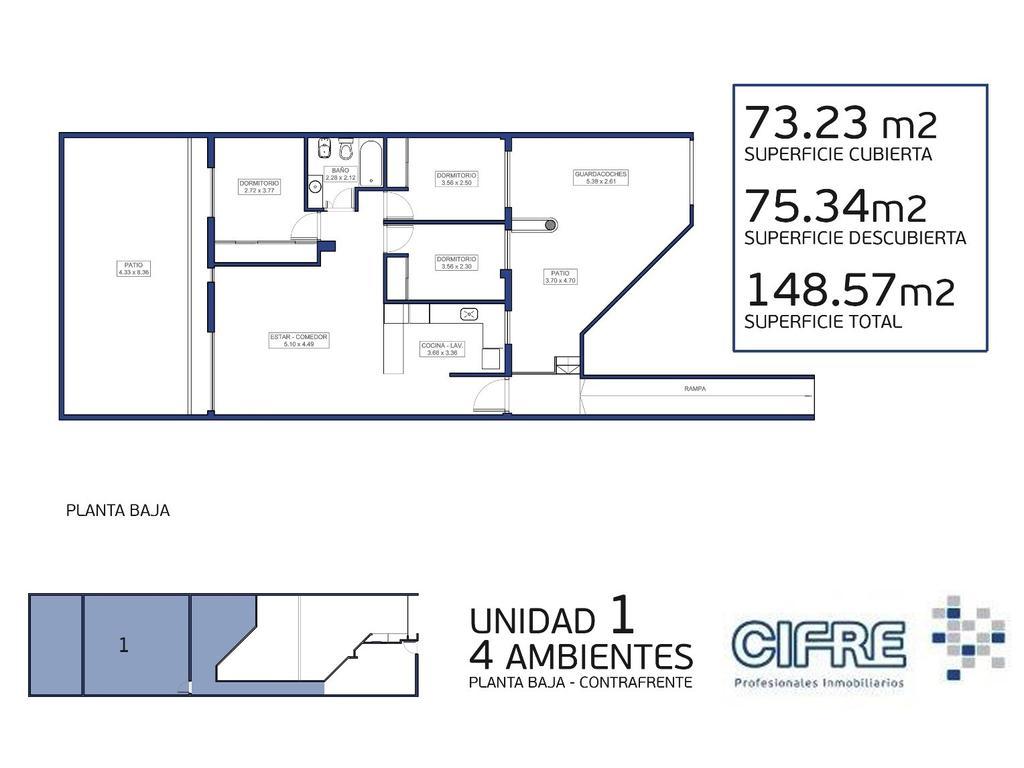 Ph 4 ambientes + jardin + cochera (Sucursal Pueyrredon 4574-4444)