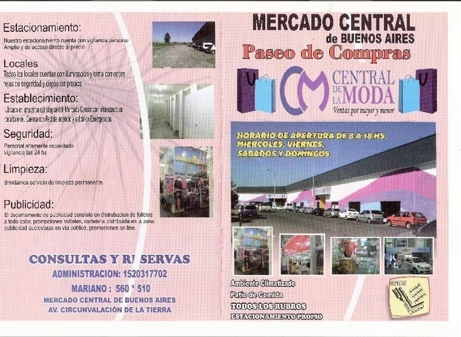 """excelente local de 3 x 2.50 en """"Central de la Moda"""" en el Mercado Central"""