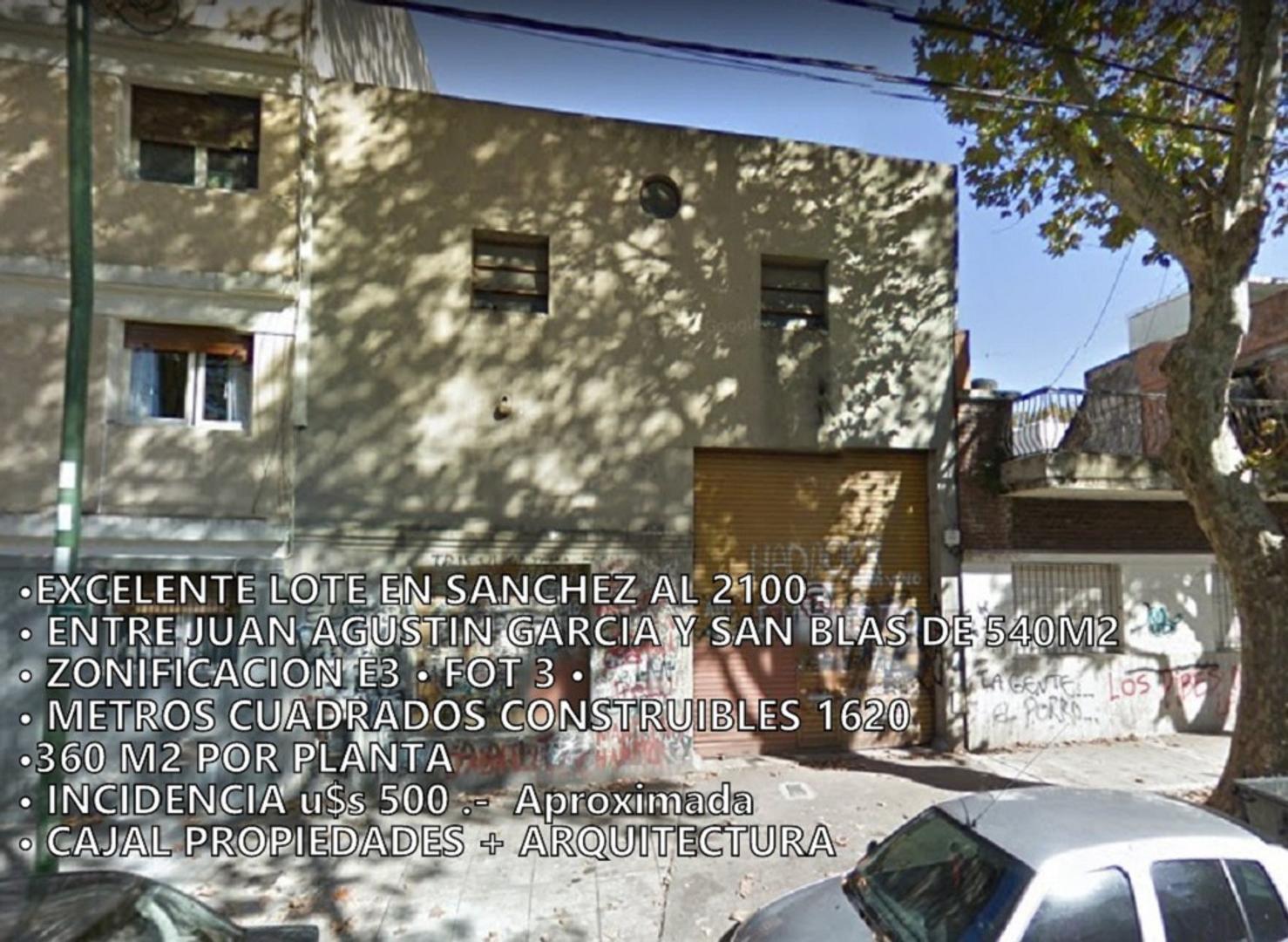 EXCELENTE LOTE 9 x 60 EN SANCHEZ AL 2100 • E3 FOT 3 • 1600 M2 CONSTRUIBLES TOTALES