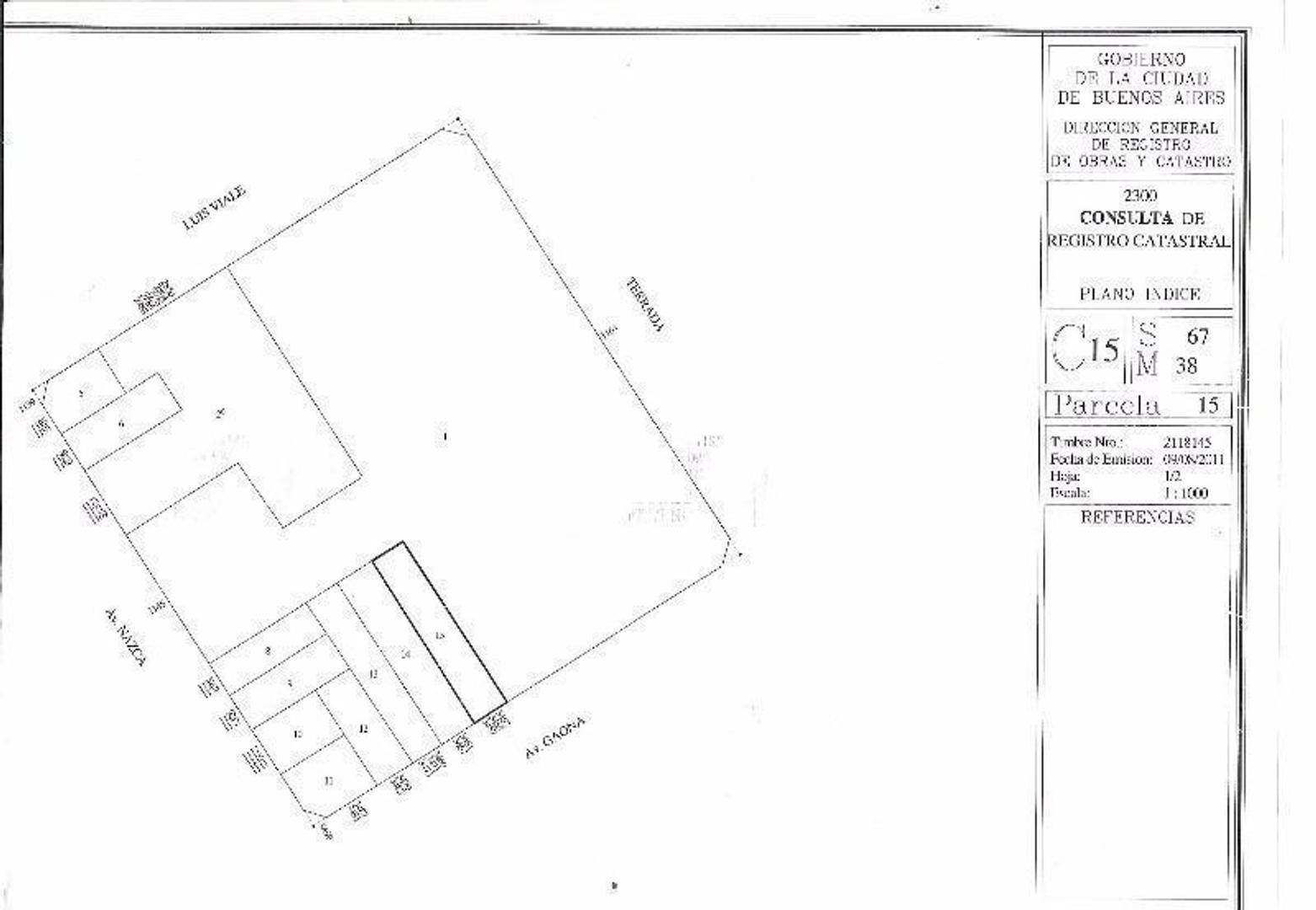 LOTE  S/  AV GAONA  AL 3400 .  Para  2.250 m2 VENDIBLES