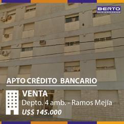 MUY BUEN DEPTO. DE 4 AMB. AL FRENTE- 1º PISO POR ESCALERA - C/LAVADERO - APTO CRÉDITO BANCARIO.