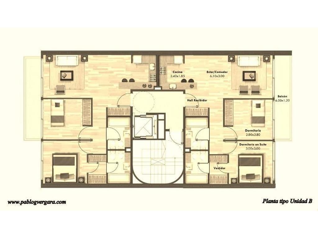 BORGES 2100 piso 7 B, Palermo Soho. 3 ambientes. Financiación hasta en 24 cuotas