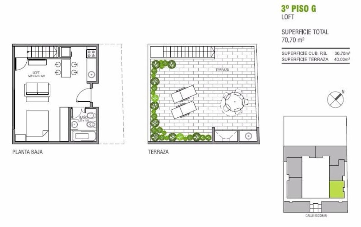 Departamento 1 ambiente en duplex 31m2 cub. + 36m2 de terraza propia (Suc. Mosconi 4574-4444)