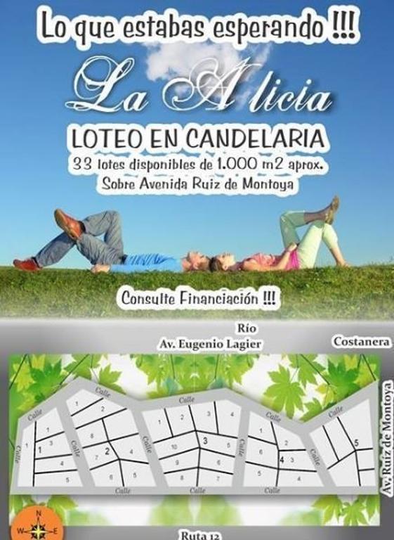 Lotes 1000m2 en Candelaria s/  Avenida Ruiz de Montoya. Misiones .-
