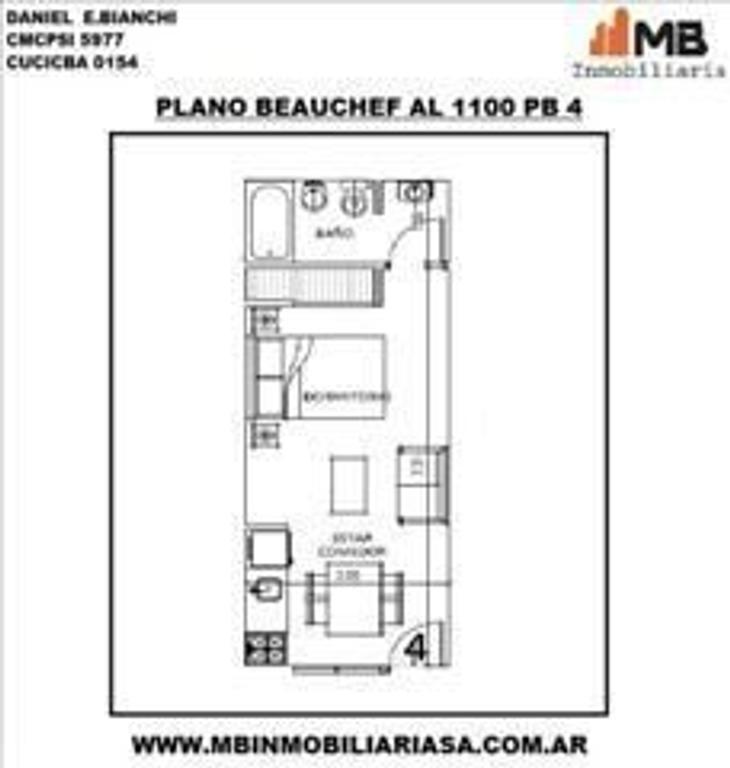 Parque Chacabuco venta monoamb. en Beauchef al 1100 PB°4