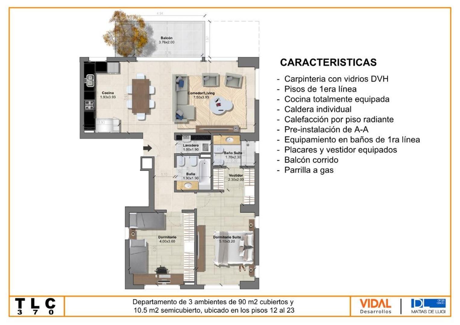 Departamento - 91 m² | 2 dormitorios | A Estrenar