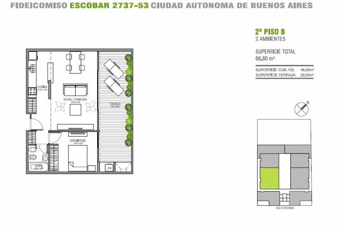 Departamento 2 AMBIENTES  47m2 + 22m2 de gran balcon aterrazado  (Suc. Mosconi 4574-4444)