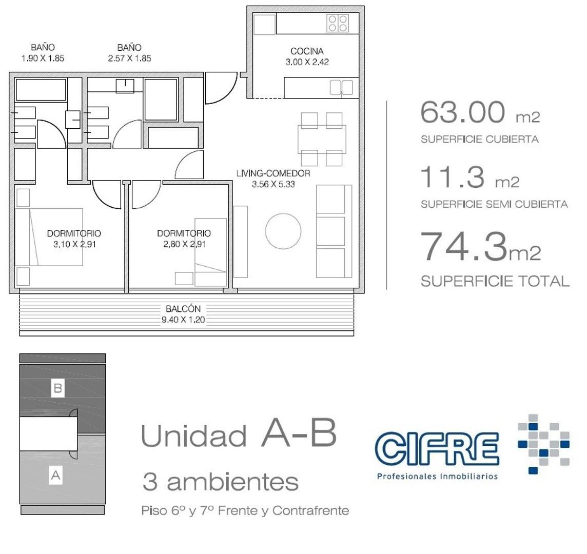Departamento 3 ambientes con 2 baños. Dormitorio en suite ( Suc.Urquiza 4521-3333 )