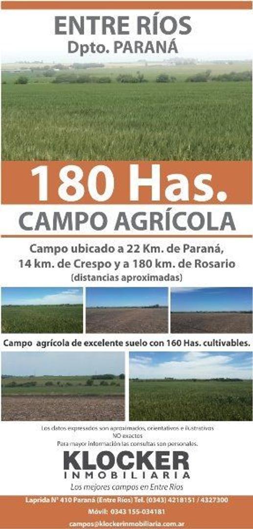 ENTRE RIOS AGRICOLAS 180 Has. PARANA