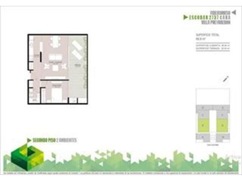Departamento 2 ambientes de 47m2 cub. + 22m2 de balcon aterrazado con parrilla (Suc. Puey 4574-4444)