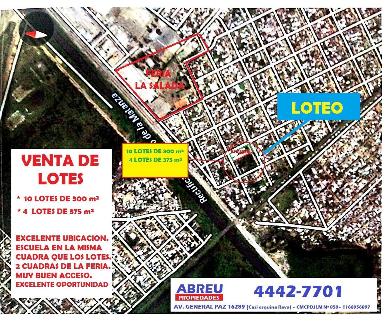LOTES DE 300 Y 375 m² - 14 LOTES EN TOTAL - 2 CUADRAS DE LA FERIA DE LA SALADA