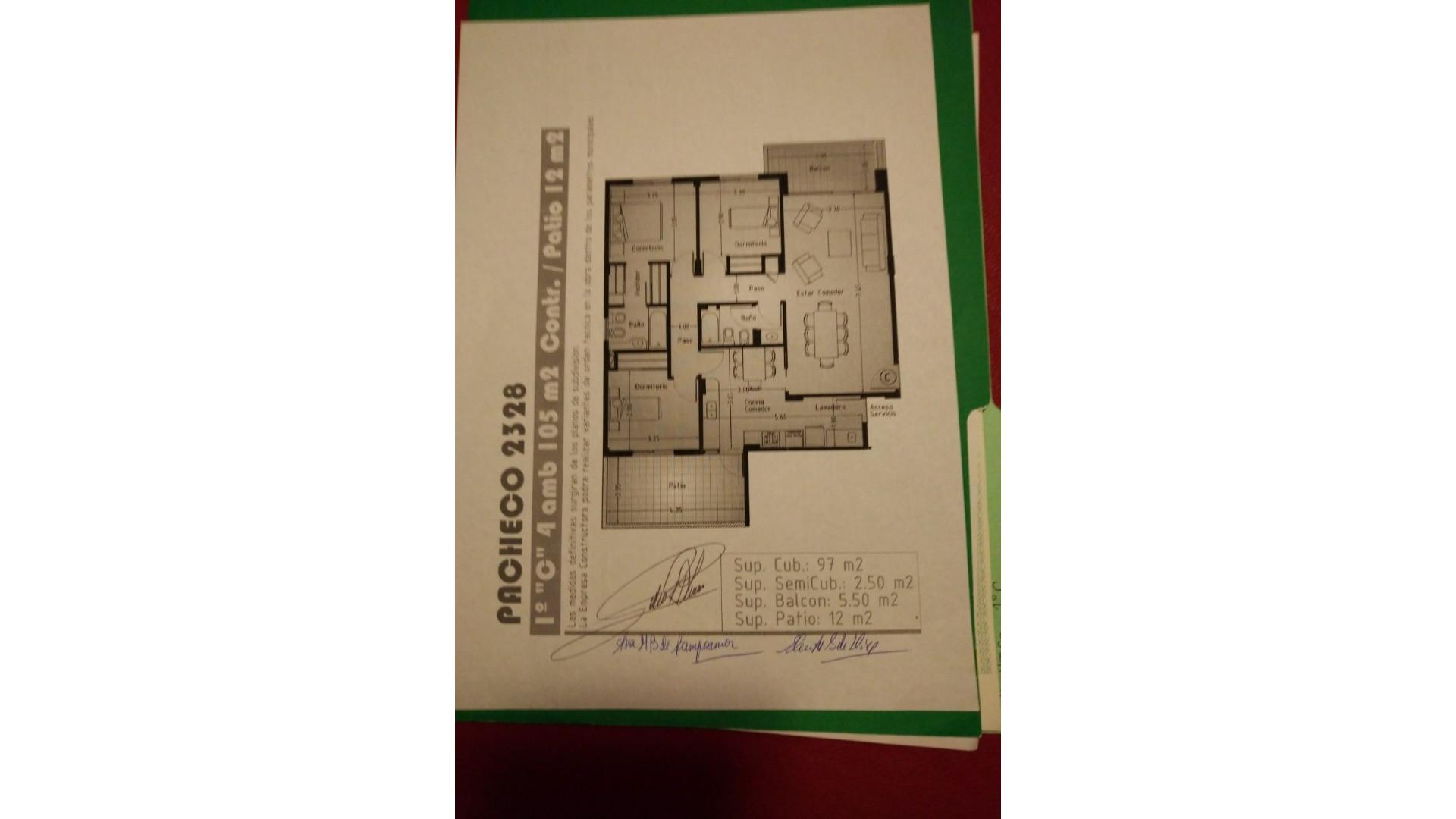 Venta: Pacheco 2328 4 amb. 105 m2 - Contra frente / Patio 12 m2 -Cochera + baulera