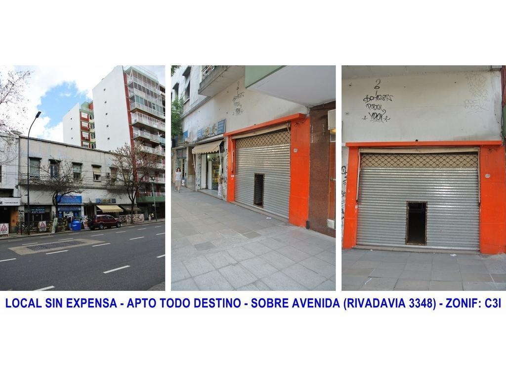 ALQUILER LOCAL SIN EXPENSA APTO TODO DESTINO SOBRE AVENIDA RIVADAVIA 3348 ONCE