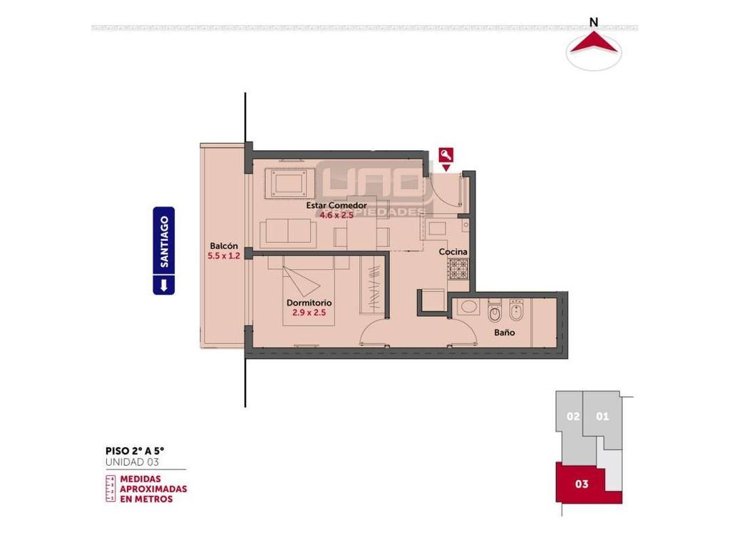Santiago y 3 de Febrero - Dpto de 1 Dormitorio Externo. Vende Uno Propiedades
