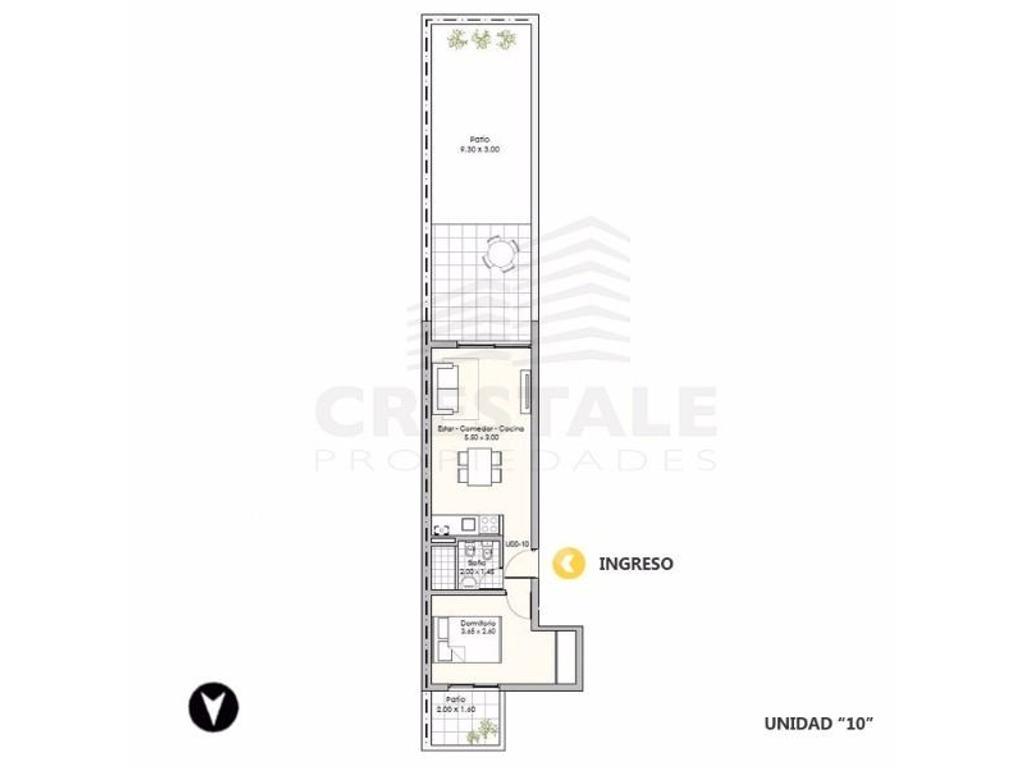 San Luis y Av. Francia - Departamento 1 dormitorio a la venta