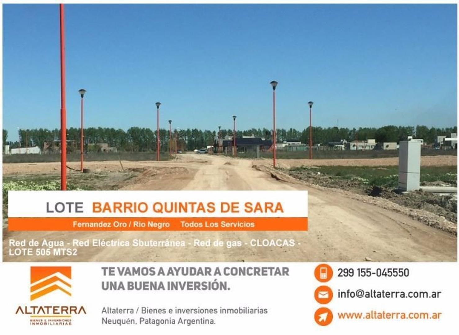 Terreno en Fernandez Oro Quintas de Sara